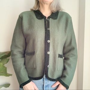 April Cornell Wool Blend Green Jacket Blazer M